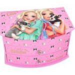 Cutie de bijuterii Top Model, roz, cu oglinda si caini
