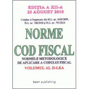 NORME COD FISCAL.VOLUMUL II. 23 AUGUST 2010