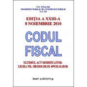 CODUL FISCAL.ULTIMUL ACT MODIFICATOR LEGEA NR. 188/2010.8 NOIEMBRIE 2010