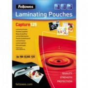 Folii pt. laminare, 111 x 154mm (A6), 125 mic., 100 buc/cutie, FELLOWES Capture125