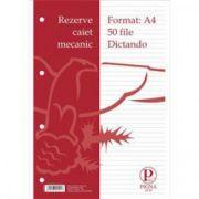 Rezerva caiet mecanic A4 50 file, dictando Pigna
