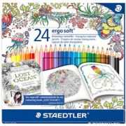 Creioane colorate 24 culori/set STAEDTLER Ergo Soft Adult Coloring Design