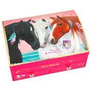 Cutie de bijuterii Miss Melody, roz, cu cai