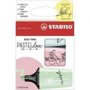 Textmarker Stabilo Boss, pastel, mini, ver/roz/bleu