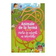 Animale de la ferma - Carte de colorat cu activitati
